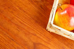 Apples on a wooden table. Free space for text . Top view Stock Images