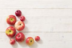 Apples on wooden white background royalty free stock images