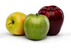 Apples. Yellow green and red apples isolated on white with clipping path Royalty Free Stock Photo
