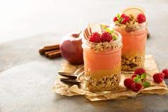 Applesauce και σμέουρων παρφαί πουρέ με το granola Στοκ Φωτογραφία