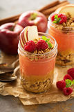Applesauce και σμέουρων παρφαί πουρέ με το granola Στοκ φωτογραφία με δικαίωμα ελεύθερης χρήσης