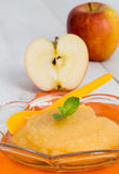 Applesauce με την κανέλα και το πορτοκαλί κουτάλι Στοκ Φωτογραφία