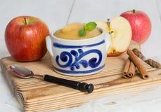 Applesauce με την κανέλα στο κύπελλο κεραμικών Στοκ φωτογραφία με δικαίωμα ελεύθερης χρήσης