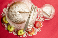 Applesauce raisin rum cake for christmas table. Table decorated with lacy napkin. From series of Merry Christmas Stock Photography