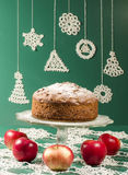 Applesauce raisin rum cake for christmas table Stock Photo