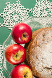 Applesauce raisin rum cake for christmas table. Macro, vertical image Royalty Free Stock Photos