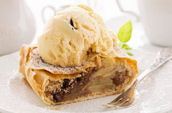 Applestrudel with Ice Cream Stock Images