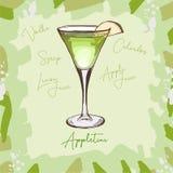 APPLETINI, low-alcohol, apple-lemon taste Contemporary classic cocktail illustration. Alcoholic bar drink hand drawn vector. Pop stock illustration