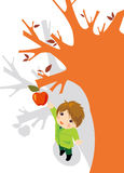 Appletree. Vector illustration of a boy picking apples Royalty Free Stock Photo