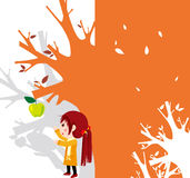 Appletree. Illustration of a girl picking apples Royalty Free Stock Image