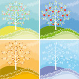 Appletree graphic. Appletree declined in all four seasons Royalty Free Stock Photo