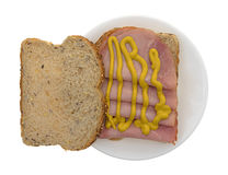 Applewood smoked ham with mustard on bread Stock Image