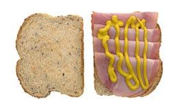 Applewood smoked ham with mustard on bread Stock Photos