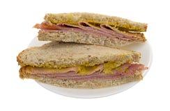 Applewood smoked ham sandwich on a plate Stock Photo