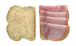 Applewood smoked ham with on wheat bread Stock Image