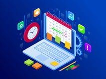 Appli en ligne sur le déroulement des opérations d'affaires d'ordinateur portable, la gestion du temps, la planification, l'appli illustration stock