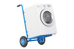 Appliance delivery. Hand truck with washing machine, 3D renderin Royalty Free Stock Photo