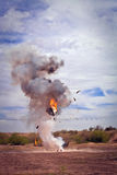 Appliance Exploded by EFX Pyrotechnic Team. Movie EFX controlled explosion of appliance in a desert Stock Image