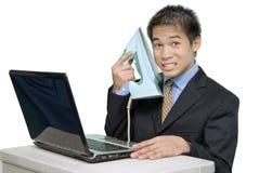 Appliance salesman at laptop Stock Images