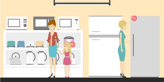 Appliance store with visitors. People buying refrigerators, washing machines and more. Credit department Stock Photo