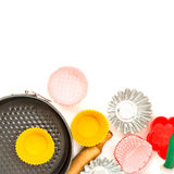 Appliances for baking closeup on wooden background Royalty Free Stock Image