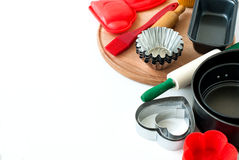 Appliances for baking closeup on wooden background Royalty Free Stock Photography