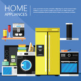 Appliances and Electronics in a Flat Design Stock Images