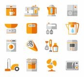 Appliances, icons, colored, and orange. Royalty Free Stock Image