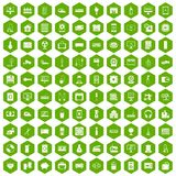 100 appliances icons hexagon green Stock Image