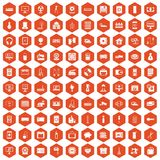 100 appliances icons hexagon orange. 100 appliances icons set in orange hexagon isolated vector illustration stock illustration