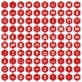 100 appliances icons hexagon red. 100 appliances icons set in red hexagon isolated vector illustration stock illustration