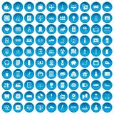 100 appliances icons set blue Stock Images
