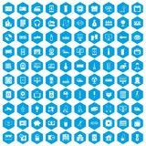 100 appliances icons set blue. 100 appliances icons set in blue hexagon isolated vector illustration Royalty Free Stock Photo