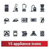 Appliance Icons. Home Electronic Devices Symbols. Appliances icons set of domestic electric machines. Home electronic devices for washing, cleaning and cooking royalty free illustration