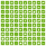 100 appliances icons set grunge green. 100 appliances icons set in grunge style green color isolated on white background vector illustration royalty free illustration