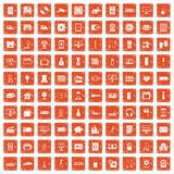 100 appliances icons set grunge orange. 100 appliances icons set in grunge style orange color isolated on white background vector illustration Royalty Free Stock Image