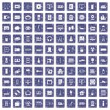 100 appliances icons set grunge sapphire Royalty Free Stock Photography