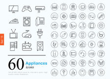 60 appliances icons. Set of household appliances icons for web or services. 60 design line icons high quality, vector illustration Vector Illustration