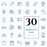 30 appliances icons. Set of household appliances icons for web or services. 30 design line icons high quality, vector illustration Royalty Free Stock Photo