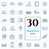 30 appliances icons. Set of household appliances icons for web or services. 30 design line icons high quality, vector illustration Royalty Free Stock Images