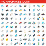 100 appliances icons set, isometric 3d style. 100 appliances icons set in isometric 3d style for any design vector illustration Stock Photo