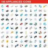 100 appliances icons set, isometric 3d style. 100 appliances icons set in isometric 3d style for any design illustration royalty free illustration