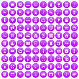 100 appliances icons set purple. 100 appliances icons set in purple circle isolated on white vector illustration Royalty Free Stock Image