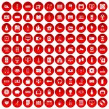 100 appliances icons set red. 100 appliances icons set in red circle isolated on white vector illustration Stock Photo