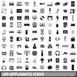 100 appliances icons set, simple style. 100 appliances icons set in simple style for any design vector illustration Royalty Free Stock Photos