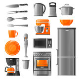 Appliances And Kitchen Utensil Icons Set Royalty Free Stock Photos