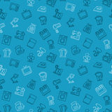 Appliances seamless pattern outline blue Stock Images