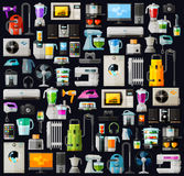 Appliances a set of colored icons. vector. flat Royalty Free Stock Photos