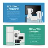 Appliances shopping. Advertising of electrical home household equipment kitchen items vector realistic banners template. Household equipment, microwave and stock illustration