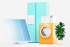 Appliances with solar panels, green energy, 3d Stock Photography